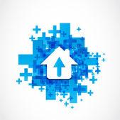 Abstract house arrow icon concept — Stock Vector