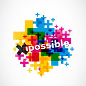 Colorful impossible to possible illustration — Stock Vector