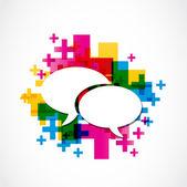 Grupo de medios de comunicación social discurso positivo — Vector de stock