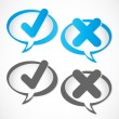 Check mark Yes and No speech bubble — Vector de stock #37668335