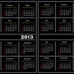 Black calendar template. 2013,2014 — Stock Vector #12536665