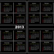 Black calendar template. 2013,2014 — Stock Vector