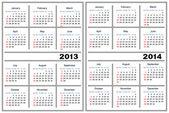 カレンダー テンプレート。2013、2014 — ストックベクタ