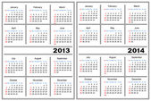 Calendar template. 2013,2014 — Vector de stock