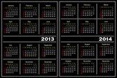 Black calendar template. 2013,2014 — Stock Vector
