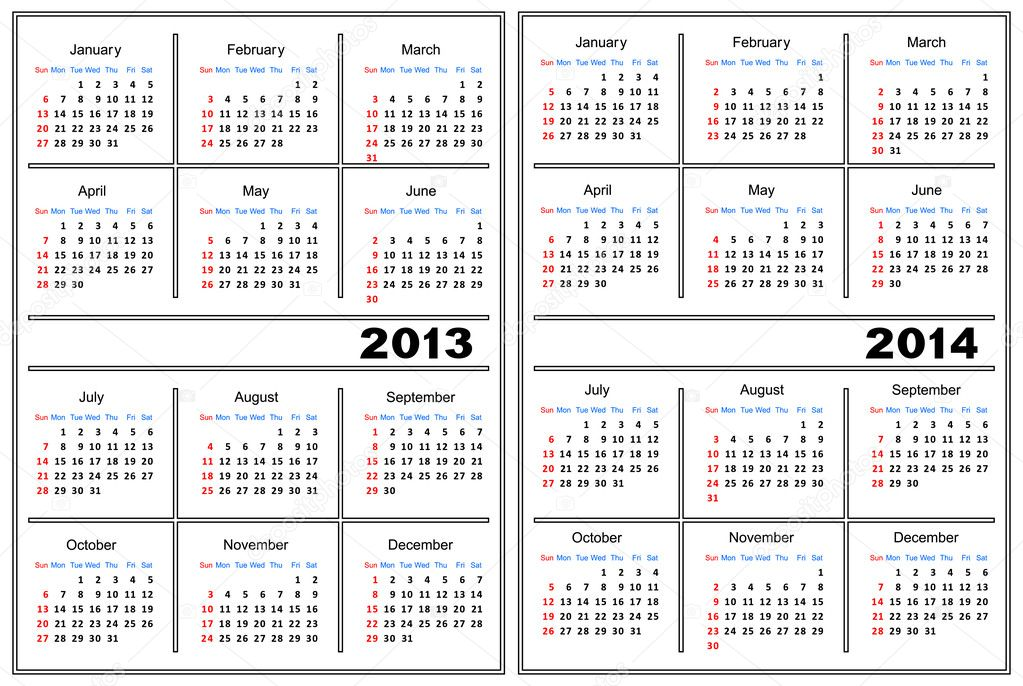 Template of a calendar of white color. A calendar for 2013 and 2014