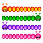 Set of funny caterpillars — Stock Vector