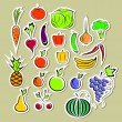 Stickers of vegetables and fruits - Stock Vector