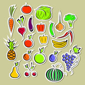 Stickers of vegetables and fruits — Stock Vector