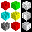 Set of multicolored cubes — Stock Vector