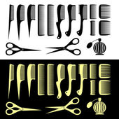 Combs and scissors — Stock Vector
