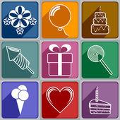 Icons to Birthday — ストックベクタ