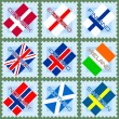Stamps with flags — Stock Vector