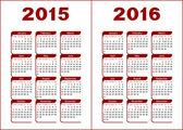 Calendar 2015, 2016 — Stock Vector