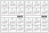 Calendar template. 2015, 2016 — Stock Vector