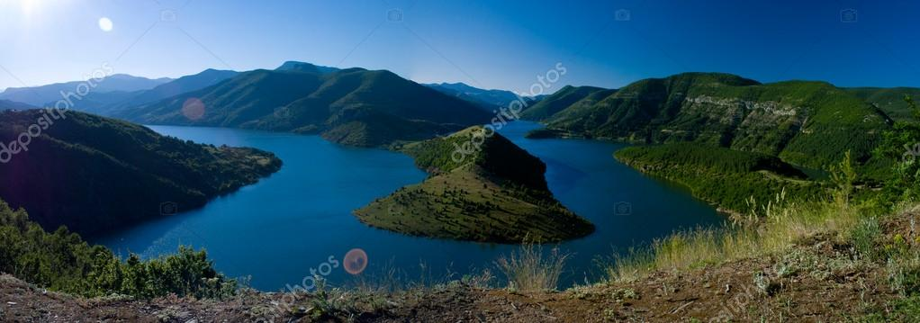High view of Kardjali lake Bulgaria in summer  Stock Photo #17151521
