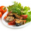 Stock Photo: Mackerel with mix of vegetables