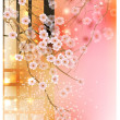 cherry tree (card with stylized vector blossom) — Stock Vector