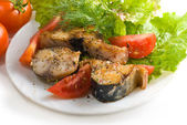 Mackerel with mix of vegetables — Stock Photo