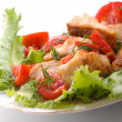 Tasty healthy fish fillet with vegetables — Stock Photo