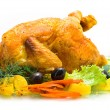 Stock Photo: Roasted chiken, vegetable potatoes