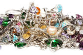 Platinum jewelry with gems — Stock Photo