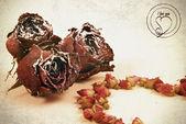 Dry flowers of roses are in vintazhnom style — Stock Photo