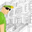 Man on town background — Imagen vectorial