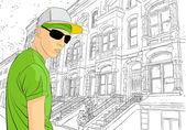 Man on town background — Stockvector