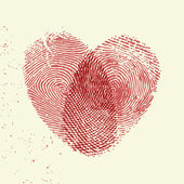 Fingerprint heart — Stock Vector