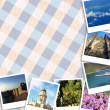 Set of travel photos of different places in Europe on a tartan background — Stock Photo