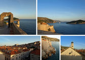 View from Dubrovnik walls, Croatia: collage of photos, card, postcard — Stock Photo