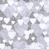 Pastel lilac textured background with hearts, linen, fabric — 图库照片