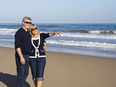 Happy mature couple points to on a sunny day at the beach — Stock Photo