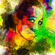 Abstract girl sketch - Stock Photo