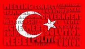 土耳其国旗织纹的表面带有救济文本根据政治状况 — 图库照片