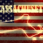 Неон сияет контурная карта государства на фоне национального флага США — Стоковое фото #47689893