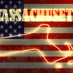 Neon shining Umriß des Staates auf Usa Nationalflagge Hintergrund — Stockfoto #47689893