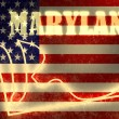 Neon shining outline map of the state on usa national flag backdrop — Stock Photo #47689957