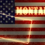 Neon schijnt overzicht kaart van de staat op usa vlag achtergrond — Stockfoto #47690085