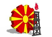 Macedonia national flag on gear and 3d gas rig model near — Foto de Stock