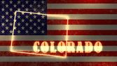 Neon shining outline map of the state on usa national flag backdrop — Stock Photo