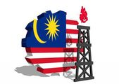 Malaysia national flag on gear and 3d gas rig model near — Zdjęcie stockowe
