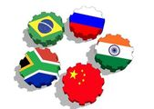 Brics members flags on gears — Stock Photo