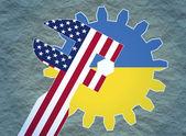 Usa and ukraine politic relative placard — Stock Photo