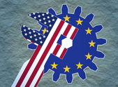 Usa and europe union politic relative placard — Stock Photo