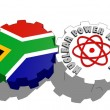 South africa republic national flag and atom energy symbol on gears — Stock Photo #47927603