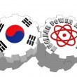 South korea national flag and atom energy symbol on gears — Stock Photo #47927625