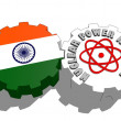 India national flag and atom energy symbol on gears — Stock Photo #47927703
