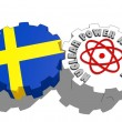Sweden national flag and atom energy symbol on gears — Stock Photo #47927893
